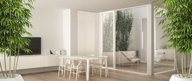 Zen interior with potted bamboo plant, natural interior design concept, minimalist living room with dining table, big windows on. Balcony terrace, modern royalty free illustration