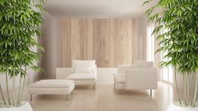 Zen interior with potted bamboo plant, natural interior design concept, modern living room with wooden and white details, minimali. Stic architecture royalty free stock image