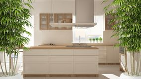 Zen interior with potted bamboo plant, natural interior design concept, modern wooden kitchen with wooden details, white minimalis. Tic architecture stock photos