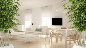 Zen interior with potted bamboo plant, natural interior design concept, modern contemporary living room open space with dining tab. Le and corner office stock photo