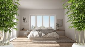 Zen interior with potted bamboo plant, natural interior design concept, modern white bedroom with big window. Minimalist architecture stock photography