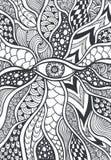 Zen-krabbel of zen-Verwarring textuur of patroon met oogzwarte op wit stock illustratie