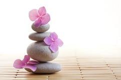Zen kwiaty i kamienie Zdjęcia Royalty Free