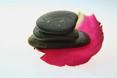 Zen Life. Small stones balanced carefully on top of one another on a tender rose petal Royalty Free Stock Photos