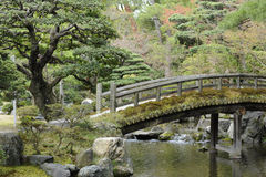 Zen-like Japanese bridge, peace and tranquility. A peaceful bridge walkway across a calm stream, part of Kyoto's Imperial Palace complex, Japan Stock Image