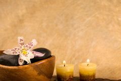 Zen-like scene. With flower and candles Royalty Free Stock Photos