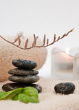 Zen-like SPA. With black stones Royalty Free Stock Image