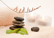 Zen like SPA. Zen-like stones with water drops and green leafs Stock Image
