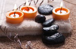 Zen like SPA. With black stones Royalty Free Stock Image