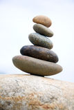 Zen like stones. Stack on the big stone Royalty Free Stock Photo