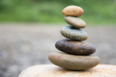 Zen like stones. Stack on the big stone Stock Photos