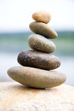 Zen like stones. Stack on the big stone Royalty Free Stock Images