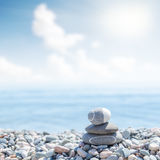 Zen like stones on beach. Soft focus Stock Images