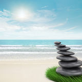 Zen-like stones inclination. 3d and photo montage Royalty Free Stock Images