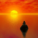 Zen-like sunset stock illustration