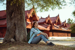 Zen-like. Traveler. Mandalay, Myanmar (Burma) Stock Photography