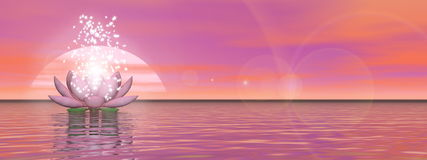Zen lily flower - 3D render. Pink lily flower with lots of stars upon water by sunset - 3D render stock illustration
