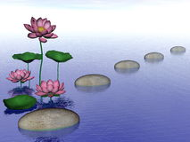 Zen lily flowers - 3D render royalty free illustration