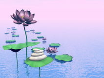 Zen lily flowers - 3D render Royalty Free Stock Image