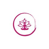 Zen Lotus Flower, Frauen-Schattenbild-Yoga Logo Vector Stockbilder