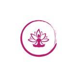 Zen Lotus Flower, Woman Silhouette Yoga Logo Vector. Design Template Stock Images