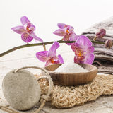 Zen massage and body peeling with loofah and pumice stone. Spa and wellbeing concept - cleansing and massaging with femininity ambiance Royalty Free Stock Photo