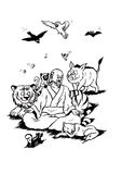 Zen Master and Happy Animals (2008) Royalty Free Stock Photo