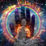 Zen Meditation Burning aura. Galaxy and fire ring. Man with maze pattern in lotus pose. 3D rendering Stock Photo