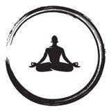 Zen Meditation Circle Black Enso-de Illustratievector van de Inktborstel Stock Foto's