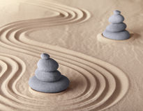 Zen meditation garden harmony and serenity. Zen garden meditation stone for meditation and relaxation conceptual for simplicity harmony purity serenity and Royalty Free Stock Photos