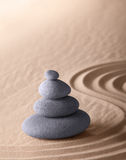 Zen meditation garden purity and simplicity. Zen meditation garden japanese buddhism concentration and relaxation stone and sand conceptual purity harmony and Royalty Free Stock Images
