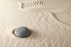 Zen meditation garden spirituality and purity. Japanese zen meditation garden zen buddhism concept harmony and simplicity in line and stone pattern brings Royalty Free Stock Photography