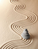 Zen meditation garden spirituality relaxation. Zen meditation garden, relaxation and meditation through simplicity harmony and balance lead to health and Royalty Free Stock Image