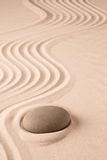 Zen meditation stone and sand garden Stock Photos