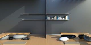 Zen minimalist Desk and bookshelf office on Wall. / modern Design art Stock Photography