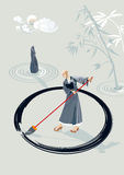 Zen Monk Painting A Circle Stock Photos