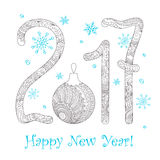 Zen New year`s card  2017 on white. Festive card with number 2017, Christmas ball, decorated with hand drawn tangled shapes  on white and text Happy New Year Royalty Free Stock Image