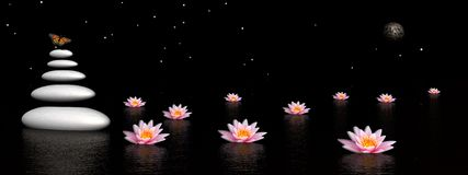 Zen night. Colored butterfly flying upon grey balanced stones next to beautiful pink lily flowers in the water by dark night with moon and stars royalty free illustration