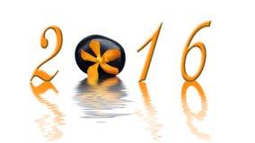 2015, zen oranje orchidee en steen Royalty-vrije Stock Afbeelding