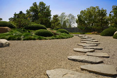 Zen Path. Japanese Garden Path with stepping stones Stock Photo