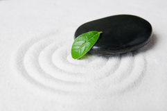 Zen Pebble And Green Leaf Royalty Free Stock Photo