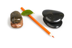 Zen pebble and Color Pencil Royalty Free Stock Photo
