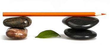 Zen pebble and Color Pencil Stock Photo