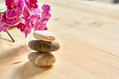 Zen pebbles balance. Spa and healthcare concept. With copy space royalty free stock image