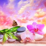 Zen pebbles with bamboo leaves and orchid flowers on table. Zen pebbles with bamboo leaves and orchid flowers on table, in the background sunset sky. Spa and stock photo