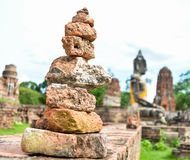 Zen Pebbles Stable Object. At old temple in Ayutthaya, Thailand Stock Images