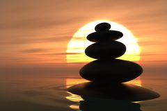 Zen pebbles stacked in sunset. Zen pebbles stacked into the water with sunset on the background Royalty Free Illustration