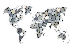 Zen pebbles world map Royalty Free Stock Photography