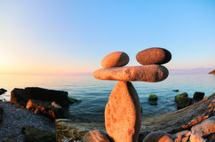 Zen przy seashore, fisheye obraz royalty free