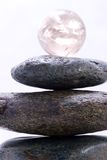 Zen pyramid and crystal ball Royalty Free Stock Photos